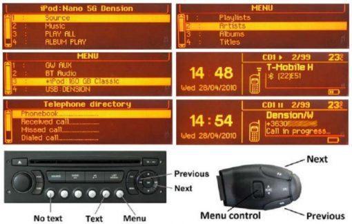 Dension Gateway Pro BT, PSA cluster
