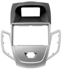 Maska nova Ford Fiesta (2-DIN, okvir); črno-srebrna